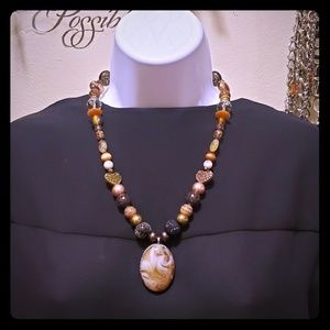 Ooak women's fashion necklace in fall colors